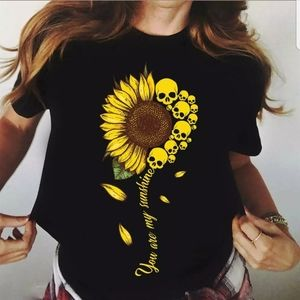 NEW You are my Sunshine Sunflower Skull T-Shirt